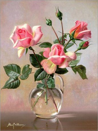 New Flowers Vase Painting Pink Roses Ideas Rose In A Glass Trendy Flowers Flower Art Painting