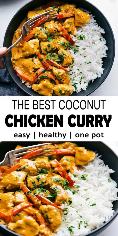 This coconut curry chicken can be create in one-pot and is packaged with full of flavors! This curry can be reached in half an hour or less making it the ideal weeknight-dinner. for dinner for two main dishes Healthy Dinner Recipes, Indian Food Recipes, Cooking Recipes, Easy Healthy Chicken Recipes, Coconut Chicken Recipe Healthy, Easy Indian Chicken Recipes, Rice Recipes, Healthy Dinner With Chicken, Main Meal Recipes