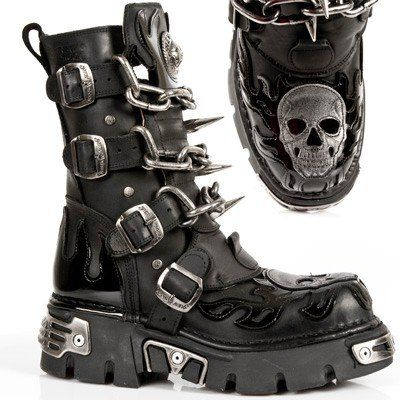 Men's fashionable Black Leather Boots with Chains, Spikes and a Silver leather Skull details. Great for Cyber, Punk, Gothic, Biker and plain...