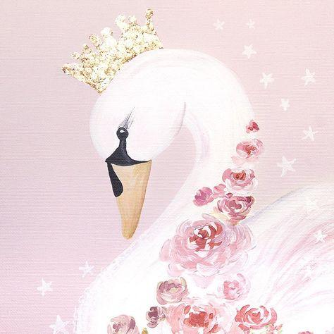 Swan Princess Print Downloadable Prints Pink Art Nursery Decor   Etsy
