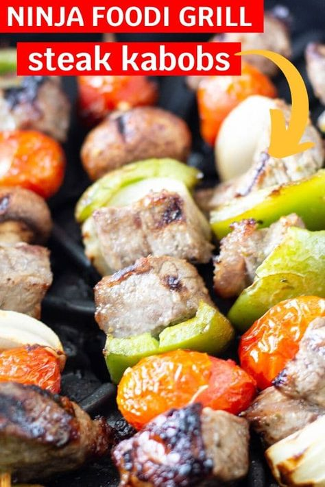 Ninja Foodi Grill Steak Kabobs are an easy weeknight dinner that is full of juicy steak and flavorful vegetables. An easy Ninja Foodi Grill recipe. Steak Kabobs, Grilled Chicken Kabobs, Grilled Steak Recipes, Grilled Beef, Skewers, Grilled Steaks, Bbq Chicken, Shredded Chicken, Kabob Recipes