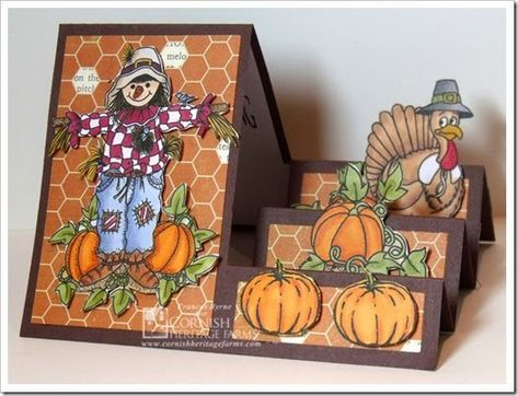 Happy Thanksgiving created by Frances Byrne using Digital Stamps from Cornish Heritage Farms and Sizzix Basic Step-Ups Framelits Tri Fold Cards, Fancy Fold Cards, Folded Cards, 3d Cards, Paper Cards, Fall Cards, Holiday Cards, Winter Cards, Side Step Card
