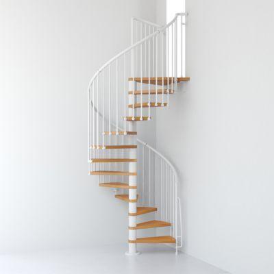 Escalier Metal Et Bois Magia 70 O130 Cm 12 Marches Palier Blanc