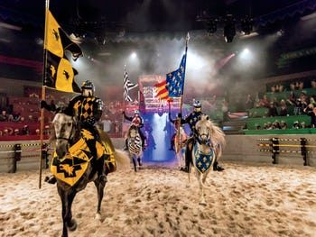 Spectacular Dinner Theater At Medieval Times Los Angeles Medieval Spain Bursts Into Color Action With Horses Medieval Times Dinner Medieval Times Medieval