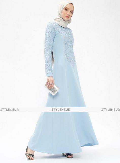 735745b9064 Maira Baby Blue Muslimah Evening Dress – Sevilay Giyim