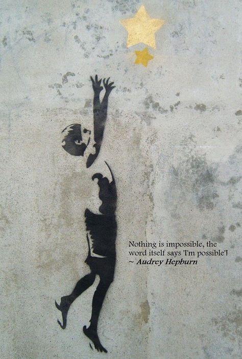 Wonderful street art by Banksy #streetart #boy #star