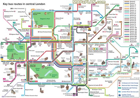 London Tourist Map Printable.London Maps Key Bus Routes By Tourist Attractions In