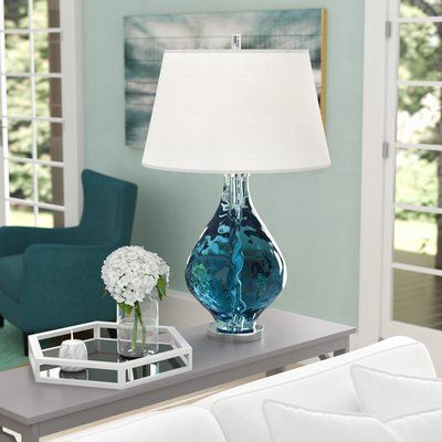 Birch Lane Joetta 29 Blue Table Lamp In 2021 Blue Table Lamp Lamps Living Room Table Lamp