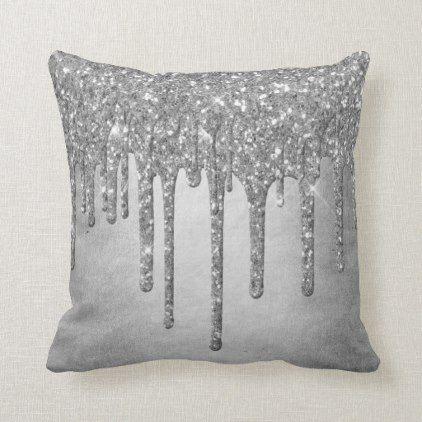 Sparkle Drip Decor Platinum Silver Metallic Ice Throw Pillow Zazzle Com Throw Pillows Silver Room Black And Silver Bedroom
