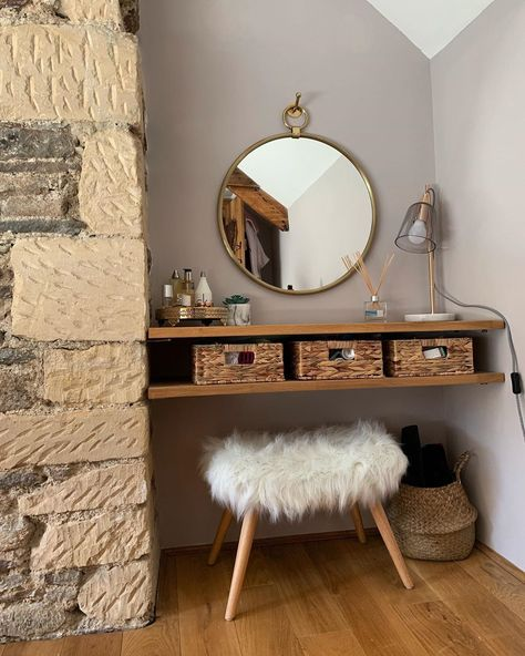 DIY dressing table almost complete, just a small shelf to add above the mirror 💅 . Diy Dressing Tables, Small Dressing Table, Home Bedroom, Bedroom Decor, Beauty Room, Diy Beauty, Beauty Tips, Cute Room Decor, Small Shelves
