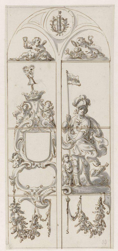 Pieter Jansz   Ontwerp voor een glasraam met een soldaat met een vaandel, Pieter Jansz, 1630 - 1672   Ontwerp voor een glasraam met links een open wapenschild en rechts een Romeinse soldaat met een kind aan zijn voeten en met een vaandel waarop het wapen van Amsterdam staat. Linksboven een putto met een zandloper; rechts boven een putto met een spiegel en een slang. Bovenaan een pijlenbundel in een lauwerkrans.