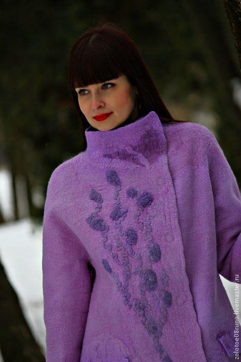 """Купить Авторское пальто """"Amethyst - violet stone"""". - сиреневый, абстрактный, лиловый, авторское пальто"""