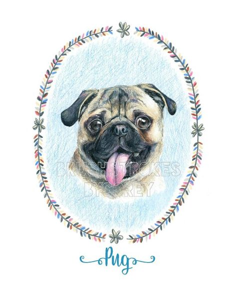 Pug Dog Art Print From Original Drawing Free Personalization Dog