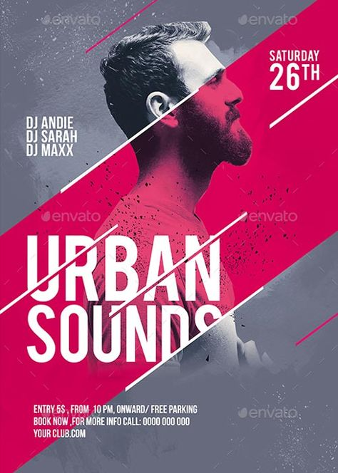 Urban Sounds Party Flyer Template - Flyer for Party Club Events