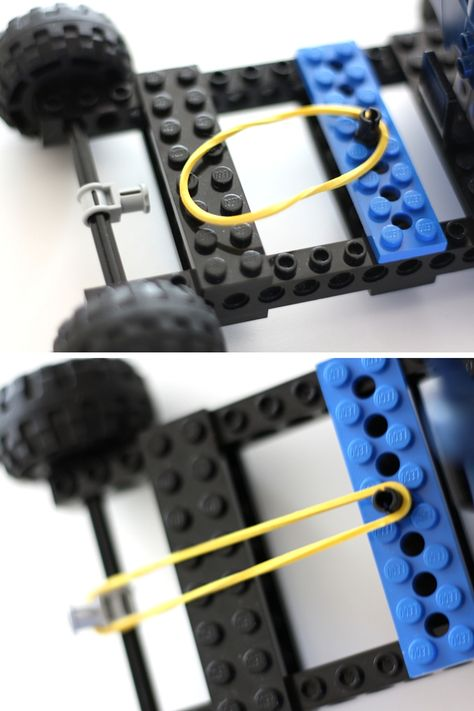 Superhero STEM with a LEGO rubber band car for Batman. Pair your favorite storybook with a fun STEM challenge and build a LEGO rubber band car today! Rubber Band Charms, Rubber Bands, Lego Design, Lego Toys, Lego Duplo, Lego Activities, Toddler Activities, Legos, Lego Hacks
