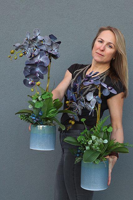 Pin By Monika Szwed Olesinska On Sztuczne Kwiaty Doniczkowe Orchid Flower Arrangements Creative Flower Arrangements Silk Orchids Arrangements