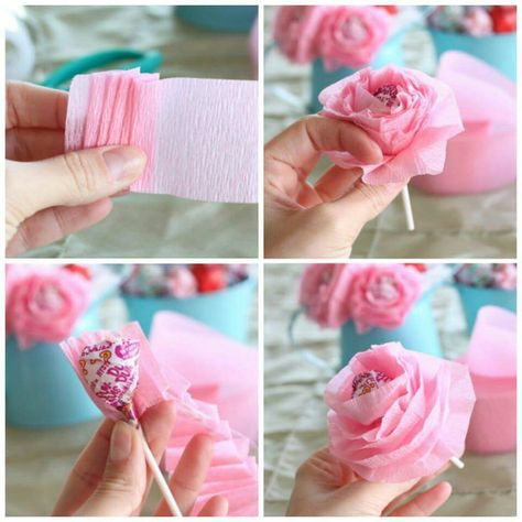 Easy Lollipop Flowers Out Of Tissue Paper Valentines Diy Diy