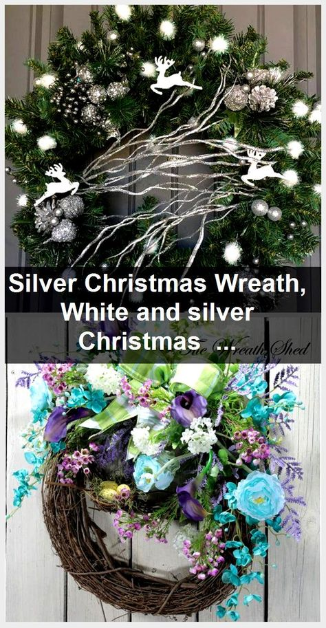 Silver Christmas Wreath, White and silver Christmas Wreath, White Christmas Wreath, Silver Holiday Wreath,  #Christmas #Holiday #Silver #white #Wreath