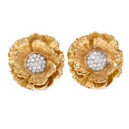 Mish Vintage Hibiscus Flower Diamond Yellow Gold Clip On Earrings Consignmentjewelry Antiquejewelry Vintagejewelry E Clip On Earrings Gold Clips Earrings