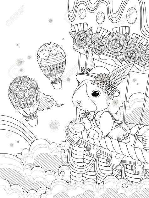 Lovely adult coloring page, miss rabbit takes hot air balloon ride to the sky, anti-stress pattern for coloring.