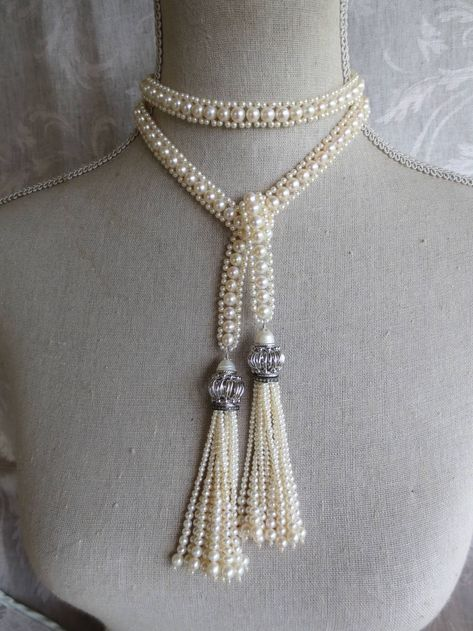 For Sale on - This white pearl sautoir necklace with rhodium plated silver beads and pearl tassels is reminiscent of the art deco style, with its long rope and elegant Pearl Necklace Wedding, Pearl Jewelry, Jewelry Art, Beaded Jewelry, Handmade Jewelry, Jewelry Necklaces, Jewelry Design, Fashion Jewelry, Unique Jewelry