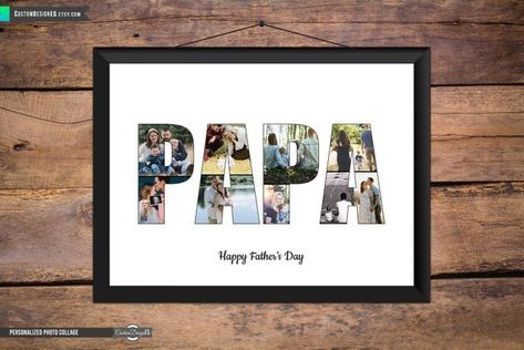 Welcome to CustomDesignEG!  Celebrate all your favorite moments with our (Fathers Day   Fathers Birthday) photo collage that spells out the word PAPA along with an inspiring quote. Perfect for displaying on your own wall or sending as a gift.  Your photos can be combined together to