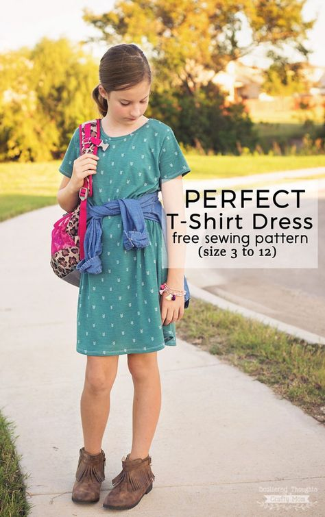 852ca61b3c67cd Perfect T-Shirt Dress Pattern and Tutorial is a free pdf sewing pattern for  girls in sizes 3 - 12. This T-Shirt Dress is a perfect transitional  clothing ...