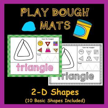 Playdough Mats 2 D Shapes Set 10 Shapes Included In 2020 Playdough Mats Math Centers Kindergarten Playdough