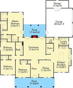 Plan 62002v One Story Home Plan With Ten Foot Ceilings And Lots Of Closets House Plans One Story One Story Homes House Plans Farmhouse