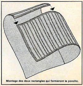 Des châles: Poncho tricoté en point mousse et jersey