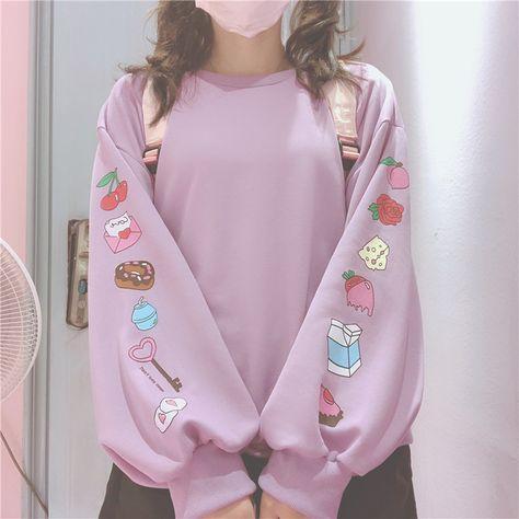 Cute Cartoon Pattern Loose Sweatshirts For Kawaii Girl Long Sleeve Pullover Lolita Autumn Women'S Clothing