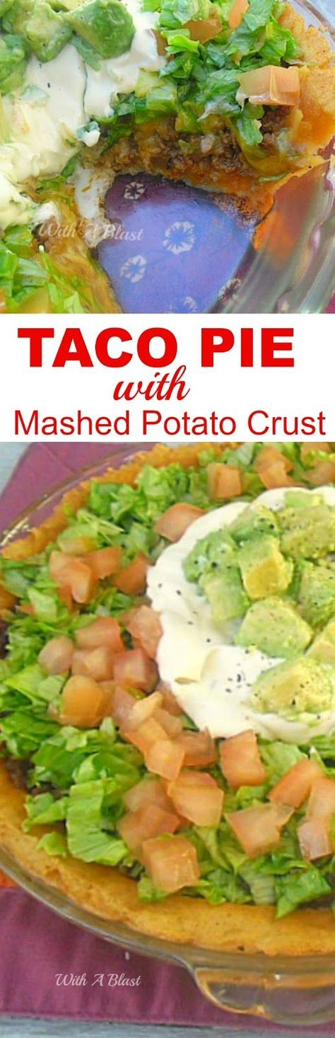 This easy Taco Pie starts with a seasoned mashed potato crust and is full of the Mexican flavors without the heat which makes it very kid-friendly #TacoPie #Taco