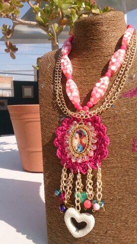 handmade jewelry FRIDA/'S ANGEL Necklace.Frida jewelry,Frida necklace,cord jewelry,Mexican jewelry,Frida jewelry,colorful jewelry,tassels