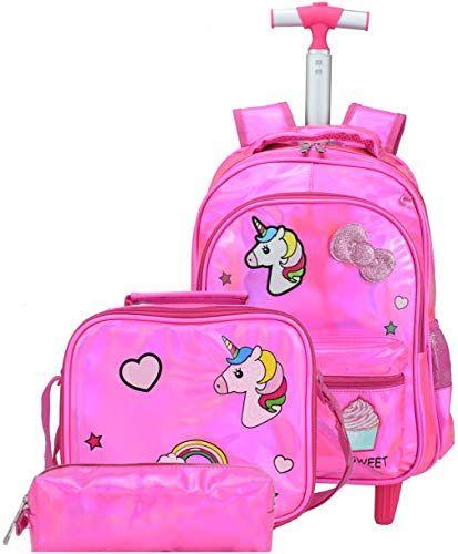 Amazing Offer On Meetbelify Girls Unicorn Rolling Backpack Wheel