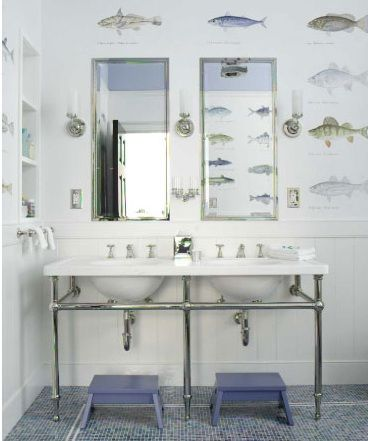 Image Of Fun blue beachy coastal boy us bathroom design with double marble sinks washstands with chrome pedestal base blue tiles floors blue stools silver mirrors