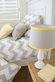 Lemon lamp shade home decorating ideas interior design lampshade grey with lemon trim new house pinterest aloadofball Image collections