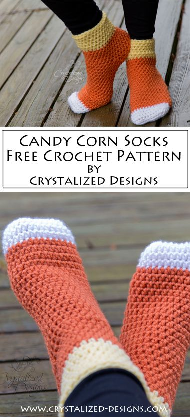 Crochet these fun Halloween socks with this free candy corn sock crochet pattern! Not a fan of candy corn? Any color works! Crochet Sock Pattern Free, Crochet Gratis, Free Crochet, Free Pattern, Free Knitting, Knitting Socks, Loom Knitting, Crochet Fall, Holiday Crochet