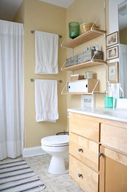 Two Stacked Towel Bars On Wall Next To Toilet Upstairs Bathrooms Ikea Bathroom Shelves Bathroom Design