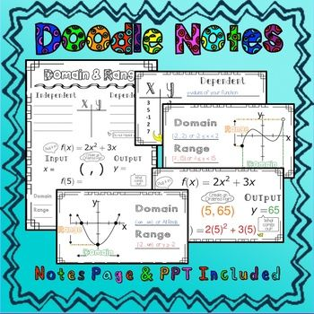 Algebra Domain And Range Sketchnotes With Powerpoint Functions Math Quadratics Free Math Activity