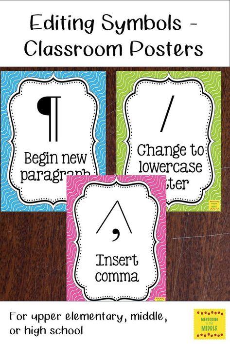 Editing Symbols Classroom Posters Grammar Pinterest Students