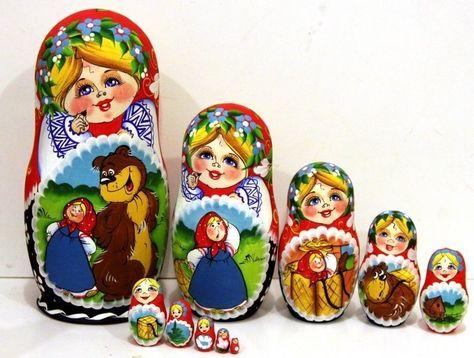Matryoshka Russian Nesting Doll Babushka Matreska Masha and the Bear Medved 7 pc