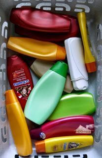 Upcycling Some time ago (here and here) I showed you shampoo boxes. Shampoo bottles or bottles from