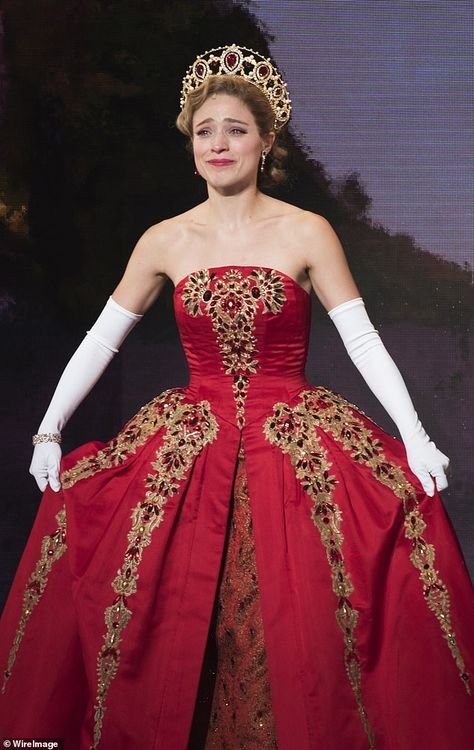 Stunning: The Broadway costume Tiffany was holding was designed by Tony winner Linda Cho. Christy is pictured wearing the gown during the opening night of Anastasia in 2017 Anastasia Costume, Anastasia Movie, Anastasia Broadway, Anastasia Musical, Anastasia Dress, Marla Maples, Broadway Costumes, Theatre Costumes, Broadway Theatre