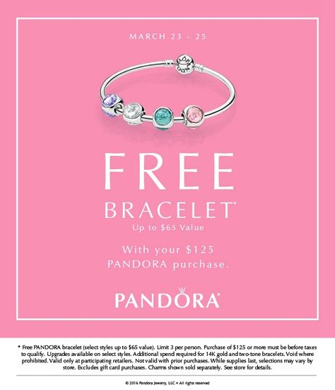 f141e9afd Starting tomorrow March 23rd to March 25th purchase $125 or more of PANDORA  Jewelry and receive a free bracelet! See store for details #womensbags
