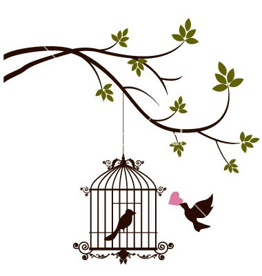 Bird are bringing love to the bird in the cage vector 2293995 - by ayoeb on VectorStock®