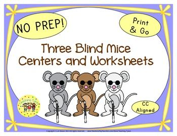 LOOK WHAT'S BEEN ADDED  Three Blind Mice Poster in Color  Three Blind Mice Poster in B/W  Three Blind Mice Sequencing Cards  Three Blind Mice Read. Trace. Color.  Three Blind Mice Word Search  Three Blind Mice Coloring Sheet  Plus, new images!  ******************************************My Three Blind Mice Packet contains:  Reading Center Book List Art Center Project Writing Center Activity Computer Center Websites Friday Activity  AND 9 worksheets