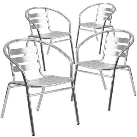 Flash Furniture 4 Pack Aluminum Commercial Indoor Outdoor