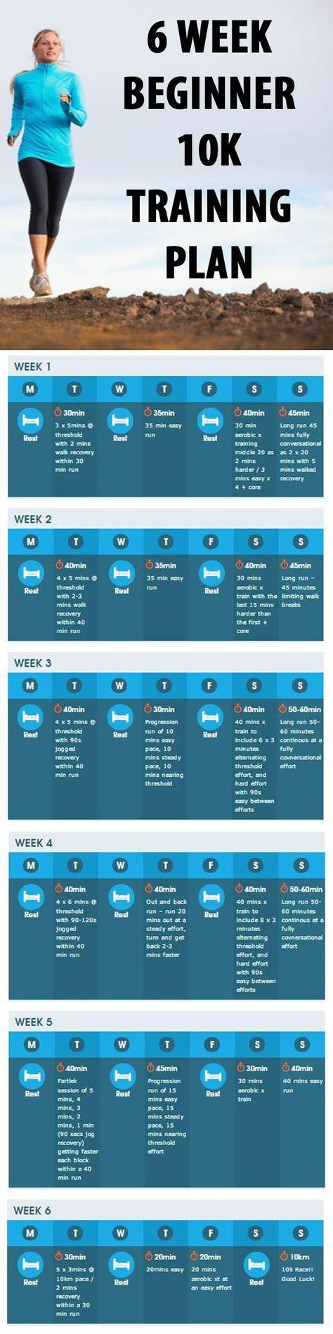 .6 WEEK BEGINNER  10K  TRAINING PLAN. #running #runningplan #beginnerrunningplan #10k