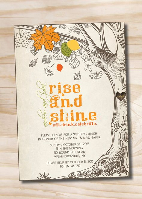 Rise and Shine Morning After Wedding Brunch Breakfast Lunch - Printable Invitation (Digital File) by PaperHeartCompany on Etsy