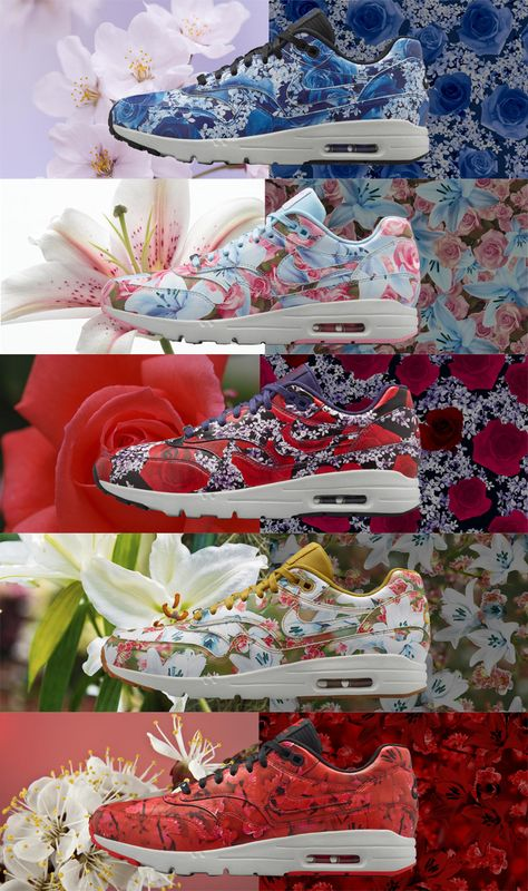 Nike Air Max 90 Floral Print Womens Rose Green Pink White